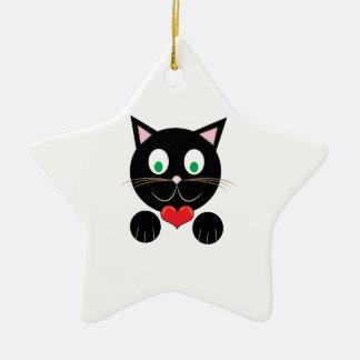 Black Kitty Ceramic Star Ornament