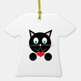 Black Kitty Ceramic T-Shirt Ornament