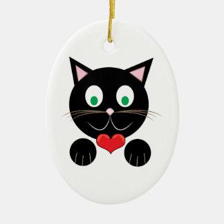 Black Kitty Ceramic Oval Ornament