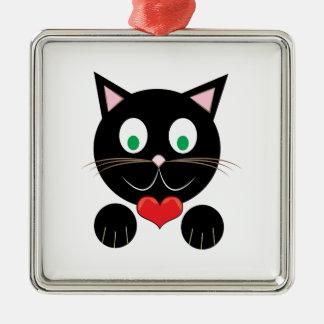 Black Kitty Silver-Colored Square Ornament
