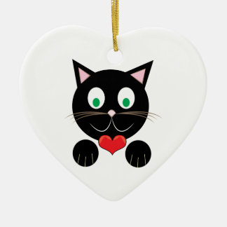 Black Kitty Ceramic Heart Ornament