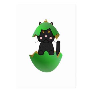 Black Kitty In A Green Christmas Ornament Business Cards