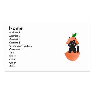 Black Kitty In A Peach Business Card
