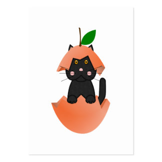 Black Kitty In A Peach Business Card Template