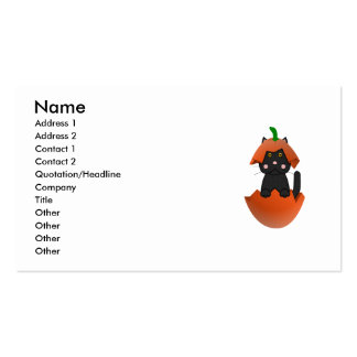 Black Kitty In A Pumpkin Business Cards
