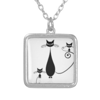 black kitty mom square pendant necklace