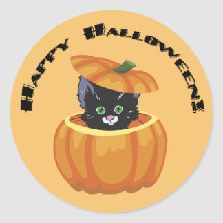 Black Kitty Pumpkin Halloween Sticker