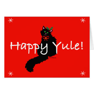 Black Kitty Yule Card