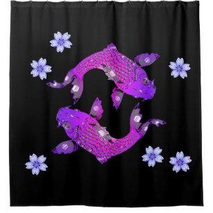 Black Koi Fish Shower Curtain