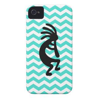 Black Kokopelli Turquoise Zigzag iPhone 4 Case
