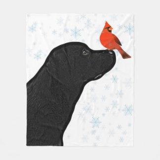Black Lab and Cardinal Christmas Fleece Blanket