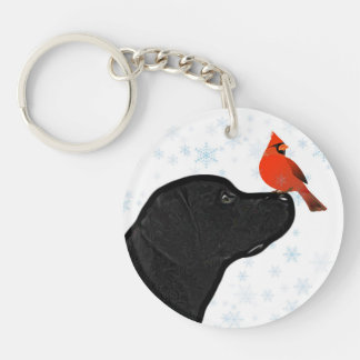 Black Lab and Cardinal Key Ring