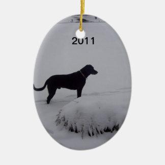 black lab and snow ornament