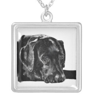 Black Lab called Charley Silver Plated Necklace