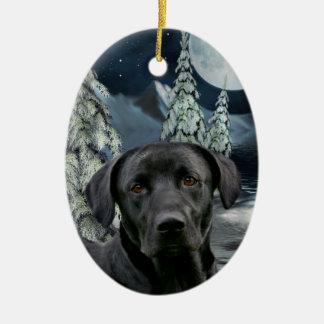 Black lab ceramic ornament