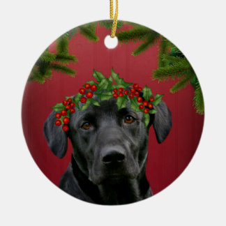 Black Lab Christmas Ceramic Ornament