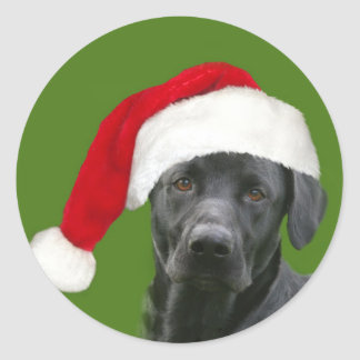 Black lab Christmas Classic Round Sticker