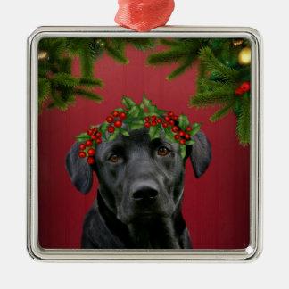 Black Lab Christmas Metal Ornament