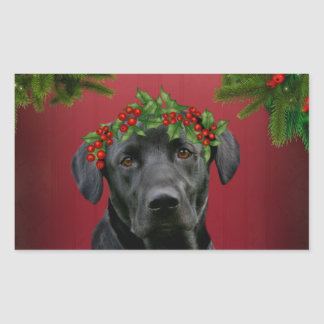 Black Lab Christmas Rectangular Sticker