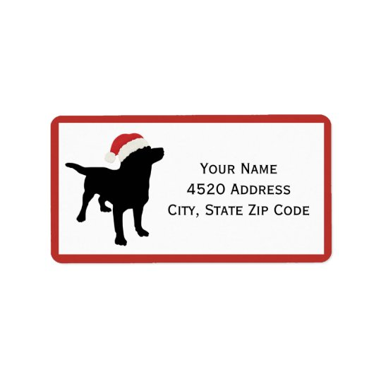 Black Lab Dog wearing Santa Christmas Hat Address Label
