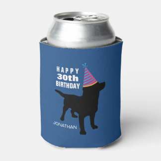 Black Lab Dog with Birthday Hat Your Age and Name Can Cooler