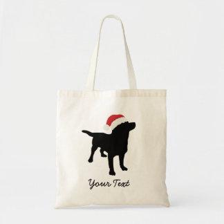 Black Lab Dog with Christmas Santa Hat Tote Bag