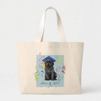 Black Lab Graduate Large Tote Bag
