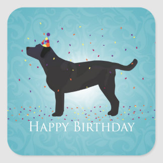 Black Lab Happy Birthday Design Square Sticker