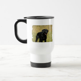 Black Lab in Field Travel Mug