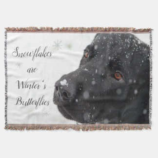Black Lab in the Snow Throw Blanket