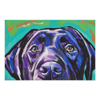 Black Lab Labrador Retriever Pop Dog Art Poster
