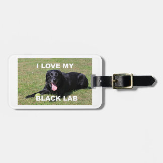 black lab love w pic luggage tag