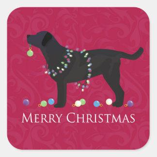 Black Lab Merry Christmas Design Square Sticker