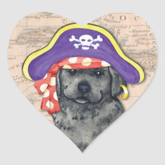 Black Lab Pirate Heart Sticker
