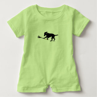 Black Lab Playing Lacrosse Baby Romper Baby Bodysuit