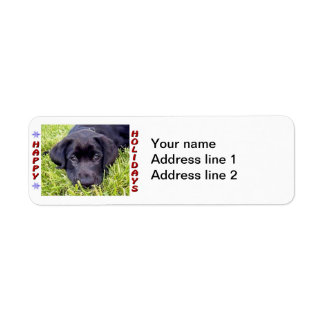 Black Lab Pup Happy Holidays Return Address Labels