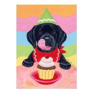 Black Lab Puppy Birthday Invitations Custom Announcement