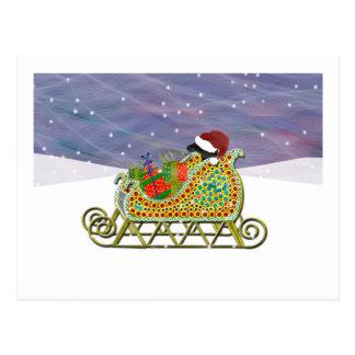 Black Lab Sleigh Christmas Postcard