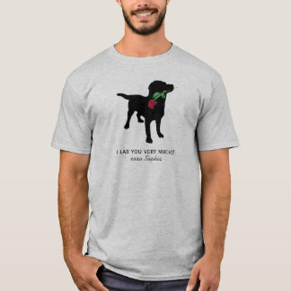 Black Lab Valentine Dog holding Red Rose T-Shirt