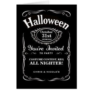 Black Label Halloween Invitations Greeting Card