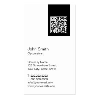 Black Label QR Code Optometrist Business Card