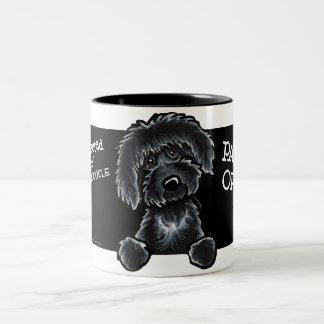 Black Labradoodle Art Two-Tone Mug