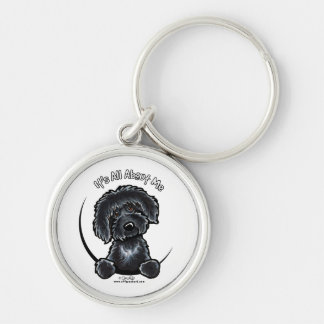 Black Labradoodle IAAM Silver-Colored Round Key Ring