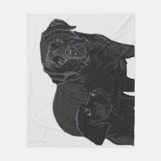 Black Labrador - Admiration in Puppy's Eye's Fleece Blanket