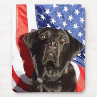 Black Labrador and Flag mousepad