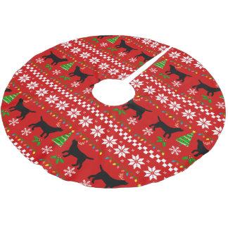 Black Labrador Antlers Ugly Christmas Pattern Brushed Polyester Tree Skirt