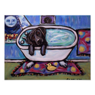 Black Labrador bathtub Poster