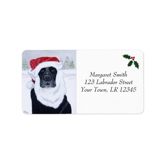 Black Labrador Christmas Address Labels