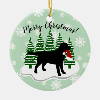 Black Labrador Christmas Evergreen Snowflakes Ceramic Ornament