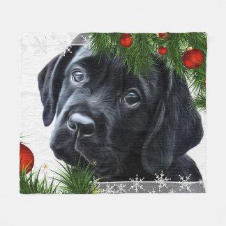 Black Labrador Christmas Fleece Blanket